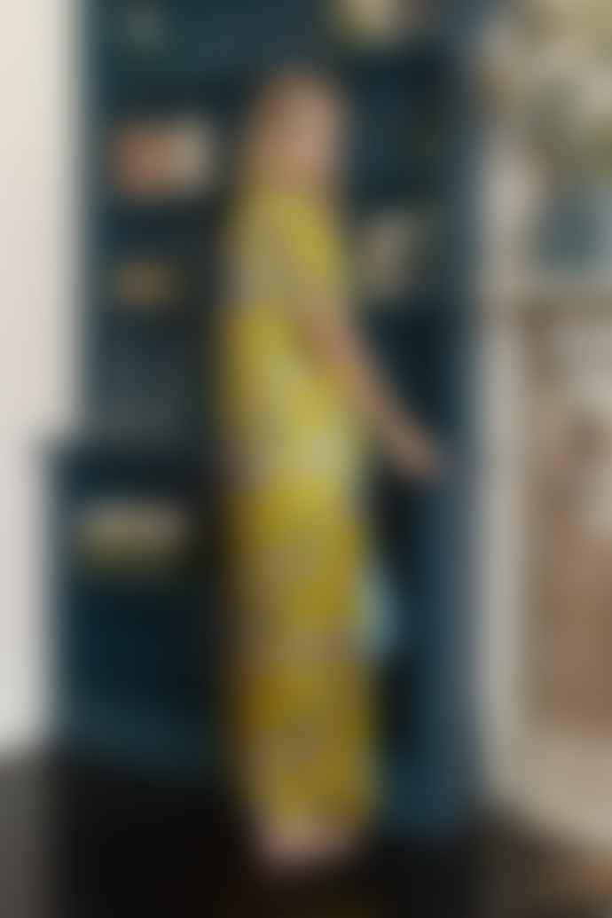 Genevie Long Silk Kimono Iris Sun