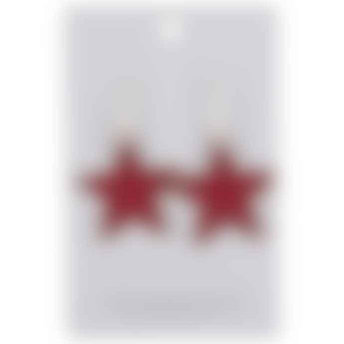 Big Metal Celie Star Earrings Gold Red