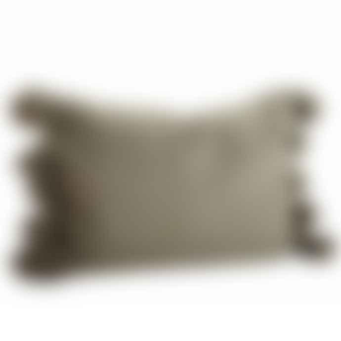 Madam Stoltz Olive Textured Tassel Cushion 40 X 60