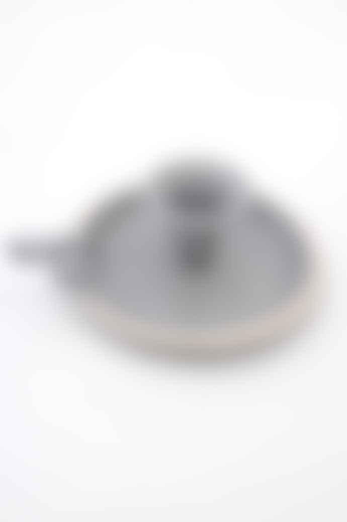 Munder Grey And Cream Enamel Candle Holder