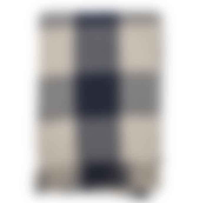 Bloomingville Navy Ecru Checked Recycled Cotton Throw