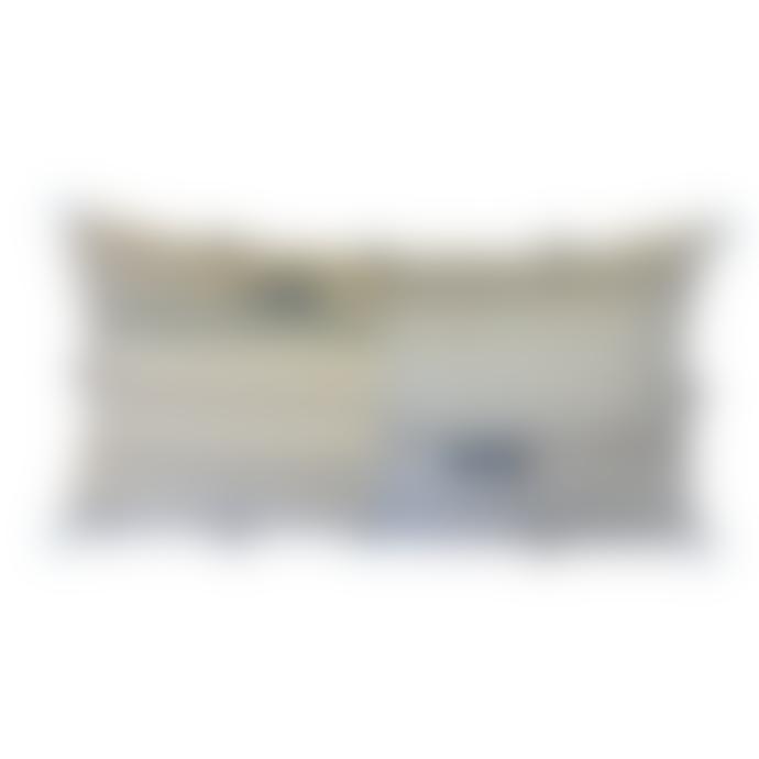 Calma House Tango Blue & Ecru Cushion with Tiny Tassels 30x60cm