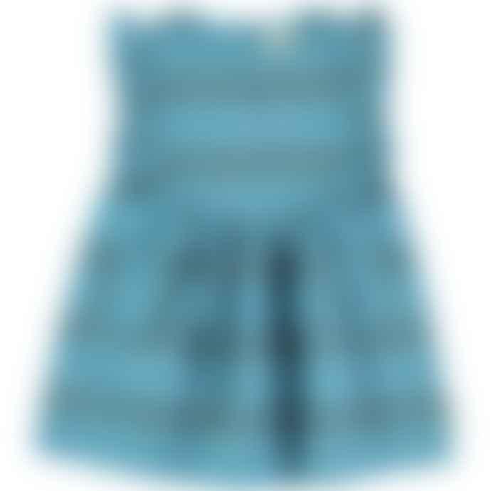 Piupiuchick Blue Multicolor Striped Dress