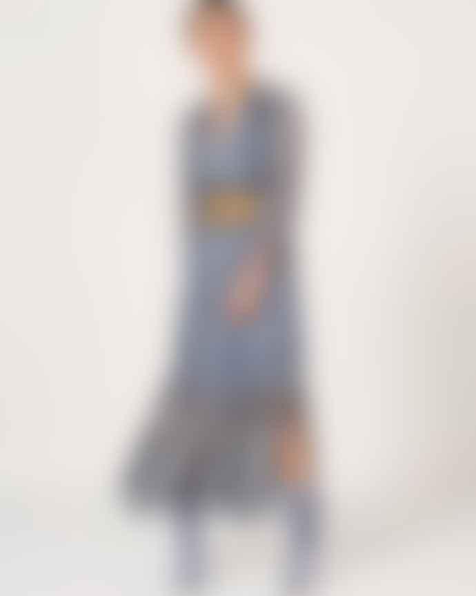 Dante6 Blue Bardon Aztec Print Maxi Dress
