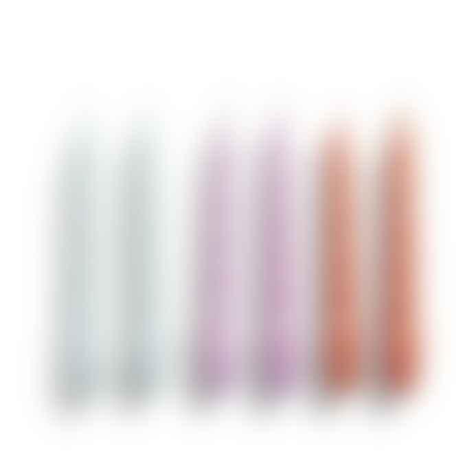 HAY Velas Spiral Set De 6 Ice Blue Lilac Apricot