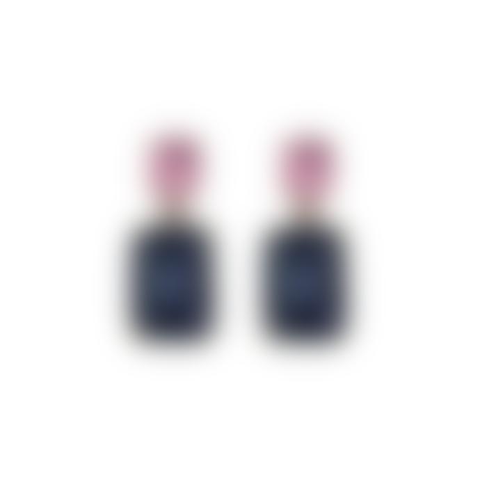 Last True Angel Gem Drop Earrings In Blue Pink