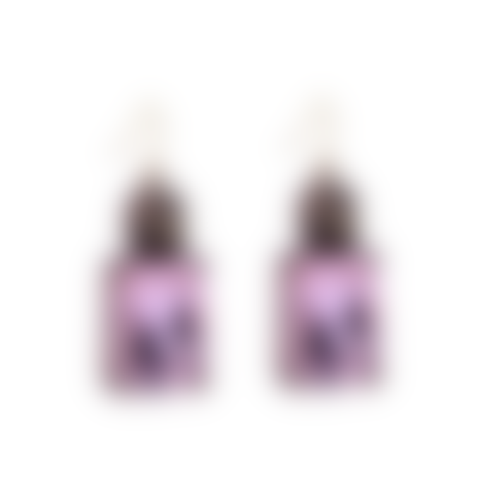 Last True Angel Pink Gem With Crystal Earrings In Antique Gold