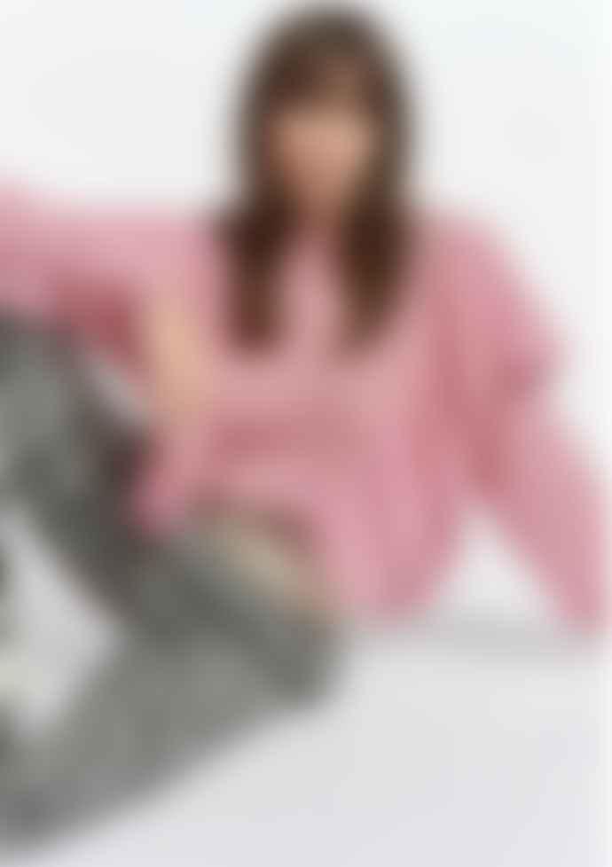 Essentiel Antwerp Soft Pink Mohair Zomzom Blend Ruffle Sweater