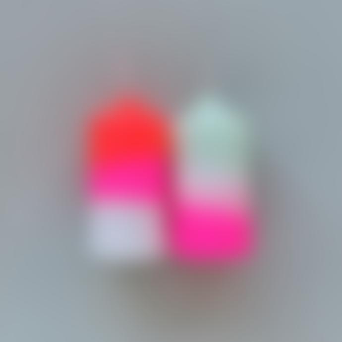 Pink Stories Neon Dip Dye Small Pillar Candles (Set of 2)