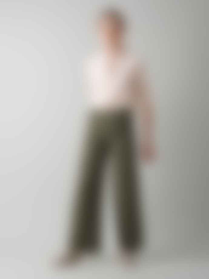 Indi & Cold Long Wide Linen Mix Trousers In Khaki