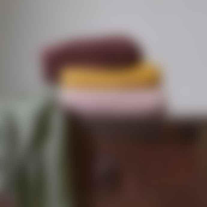 Nkuku Large Mustard Moss Stitch Cotton Throw
