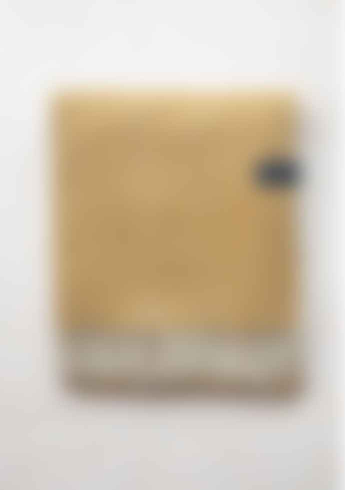 The Tartan Blanket Co. Mustard Herringbone Wool Picnic Blanket with Leather Straps
