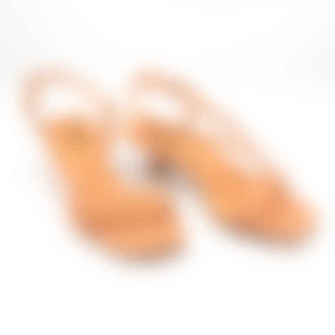 lola cruz Pale Orange Winda Kitten Heel Sandals