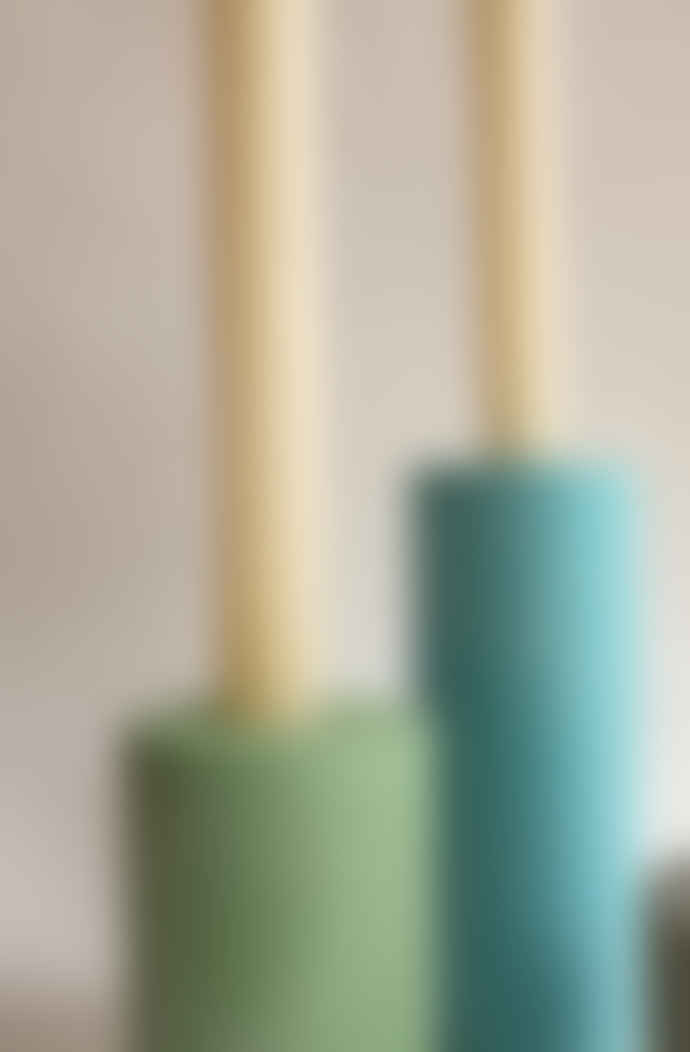 Squid Ink Co. Set of 7 Mixed Cool Tones Concrete Candle Stick Holders