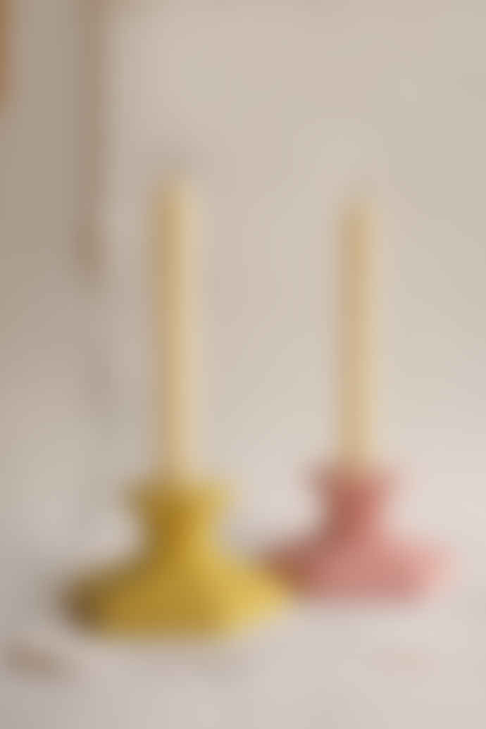 Squid Ink Studio Set of 2 Pink and Yellow Concrete Candlestick Holders