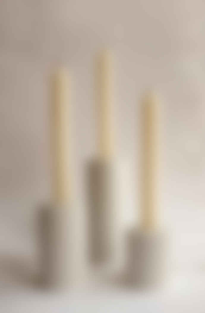 Squid Ink Co. Set of 3 White Column Concrete Candle Stick Holders