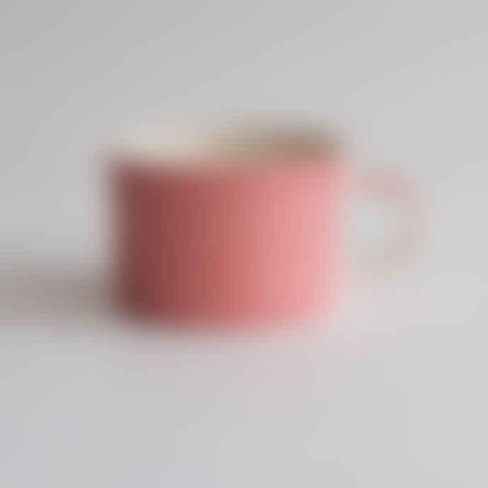 Musango Handmade Wide Ceramic Mug Plain Wash Rose