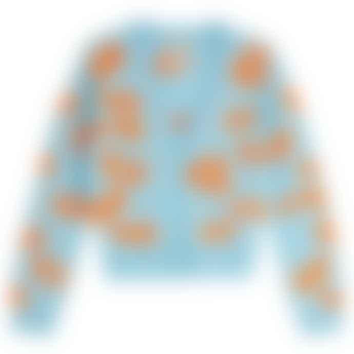 Jumper 1234 Light Blue Orange Leoprint Cardigan