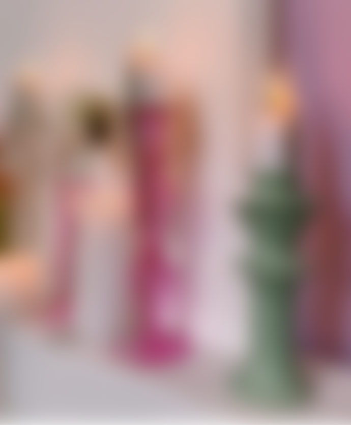 Anna + Nina Fiesta Pink Glass Candle Holder