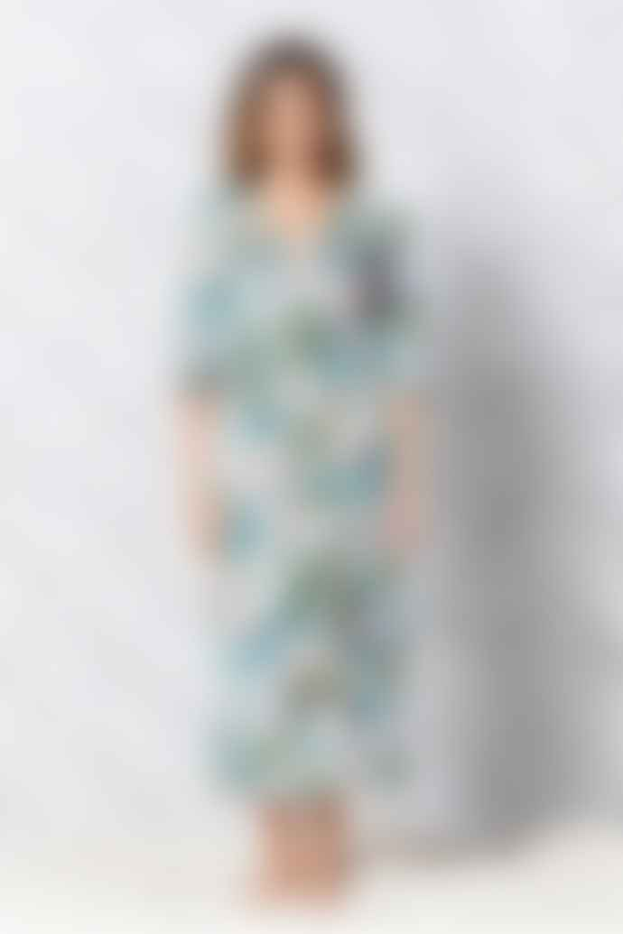 One Season Long Poppy Cotton Dress In Daintree White