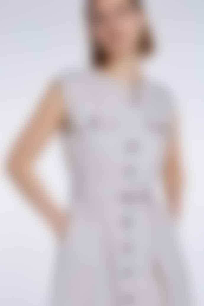 Set Fashion Light Stone Button Up Sleeveless Dress
