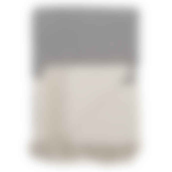 Bloomingville Large Grey and Off White Cotton Throw