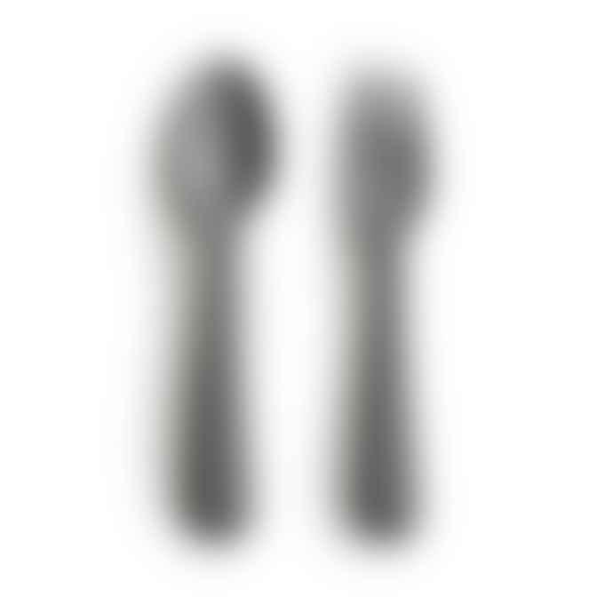 Mushie Fork And Spoon Set Smoke