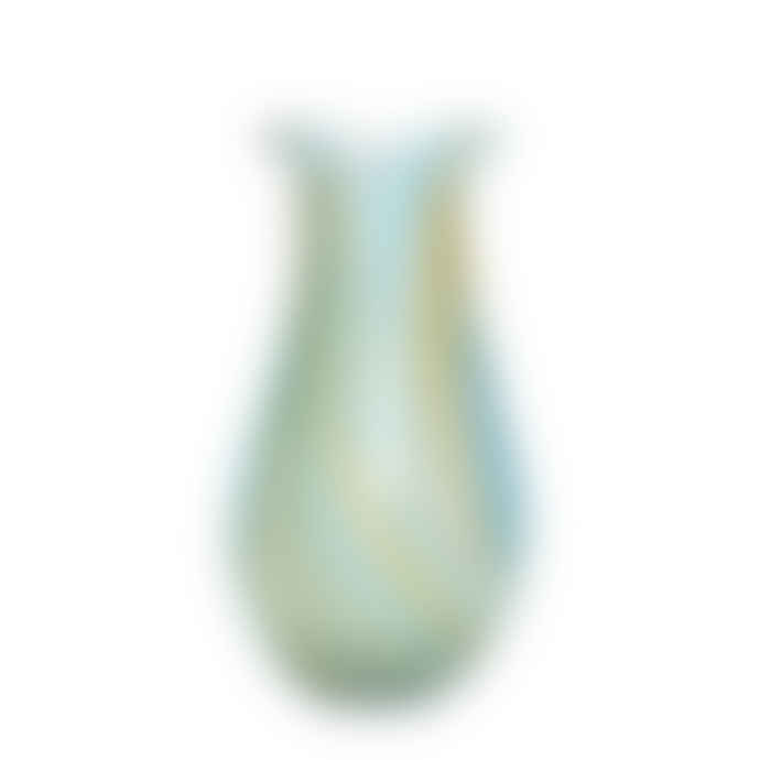 Hubsch Multi Coloured Glass Vase - Blue and Yellow Stripes