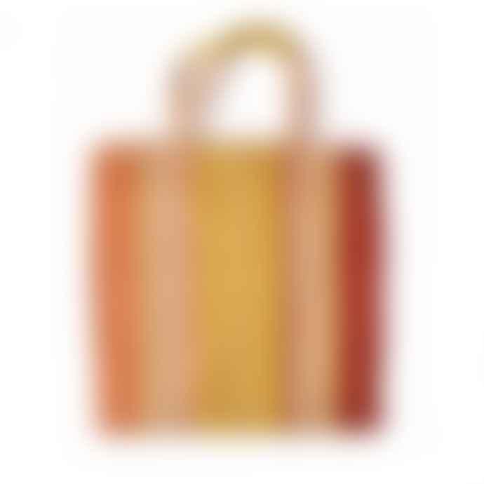 Maison Bengal Jute Poresh Tote Bag Orange Red Yellow stripe