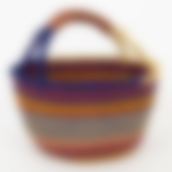Afroart Blue/Red/Green/Natural Bolga Picnic Basket