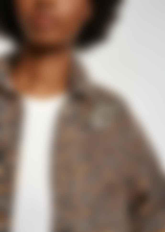 Essentiel Antwerp Brown Black Leopard Print Zeagle Denim Jacket
