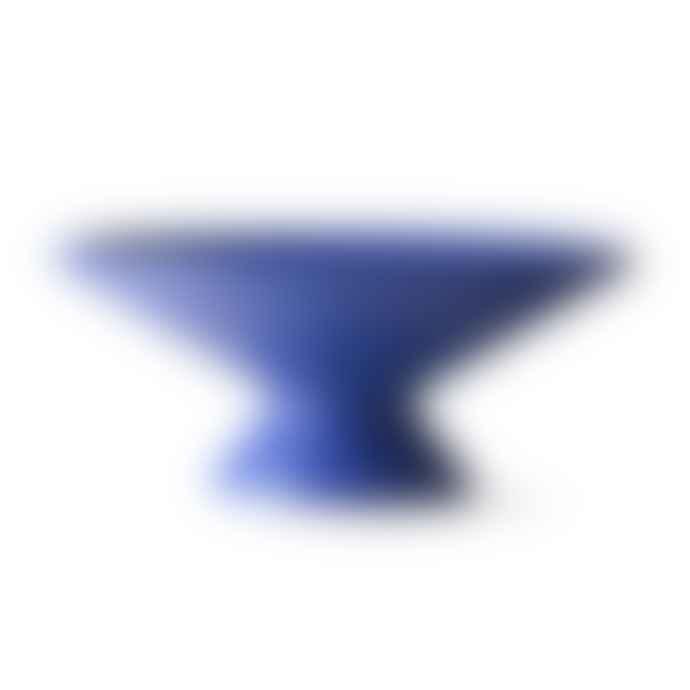 HKliving Blue Ceramic Bowl with Raised Angular Base