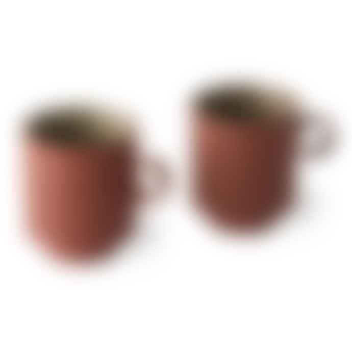 HKliving Pair Of Terracotta Ceramic Tea Mugs