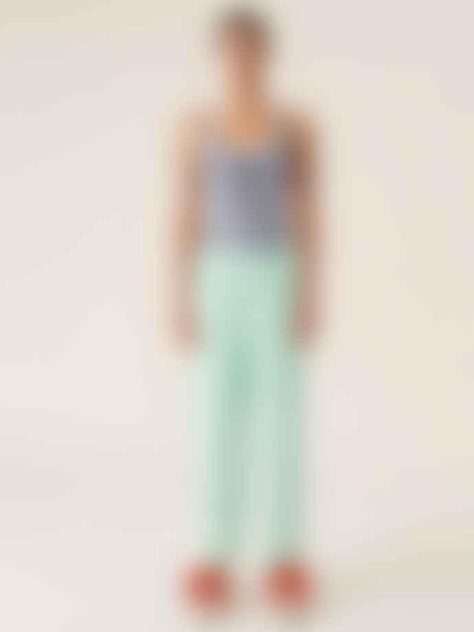 Ganni Stripe Cotton Pants Kelly Green