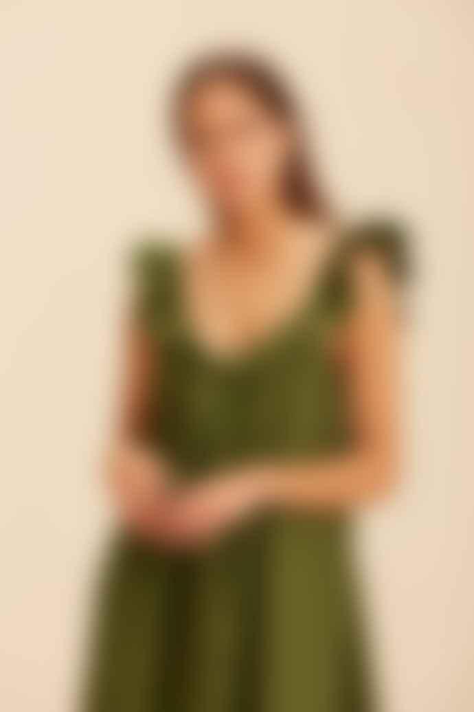Devotion Twins Olive 021318 G Darcy Midi Sleeveless Dress