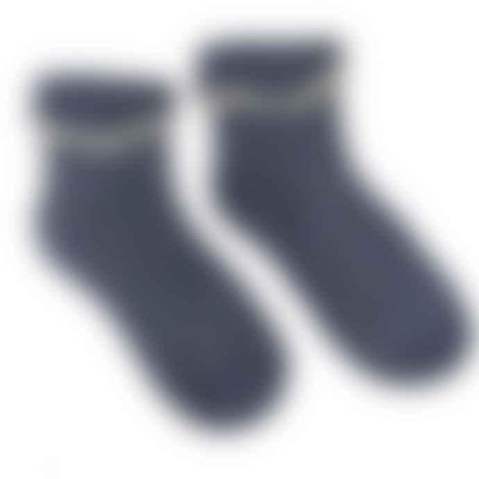 Joya Blue and Cream Dots Cuff Ladies Socks