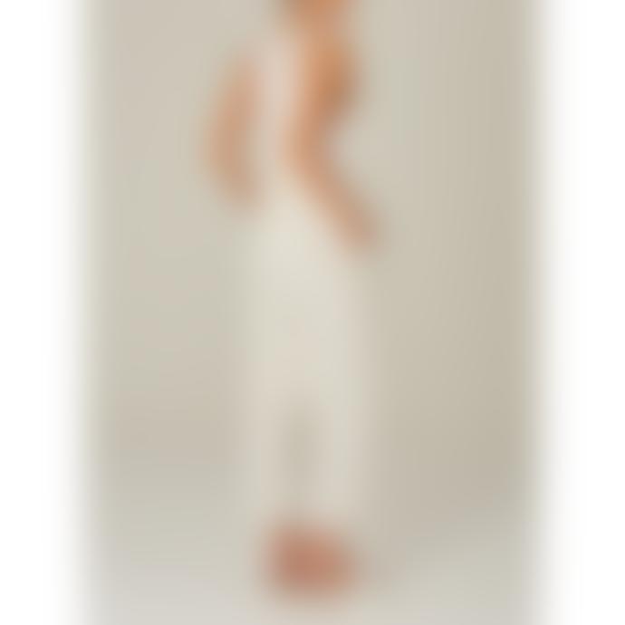 M.A.B.E White and Silver Striped Bobbi Jumpsuit
