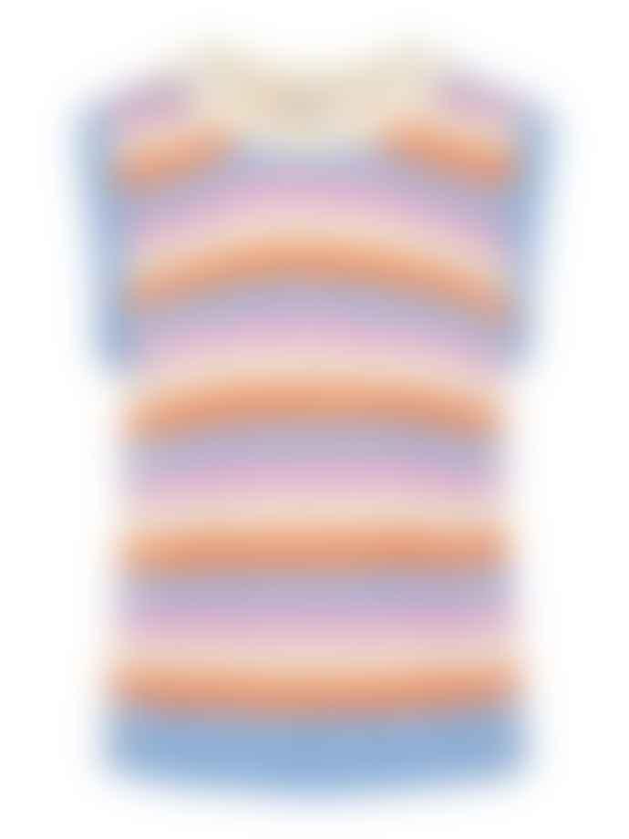 Pieces Tia Knit Vest Cyclamen Stripes Nectarine