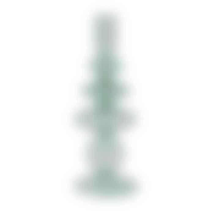 Present Time Candle Holder Art Glass Rings Large Aqua