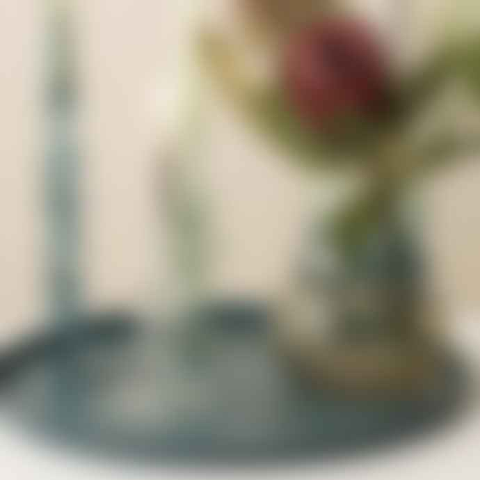 Present Time Candle Holder Art Glass Rings Medium Aqua