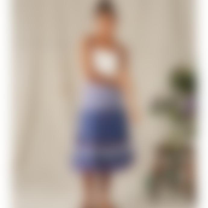 M.A.B.E Blue Floral Midi Skirt