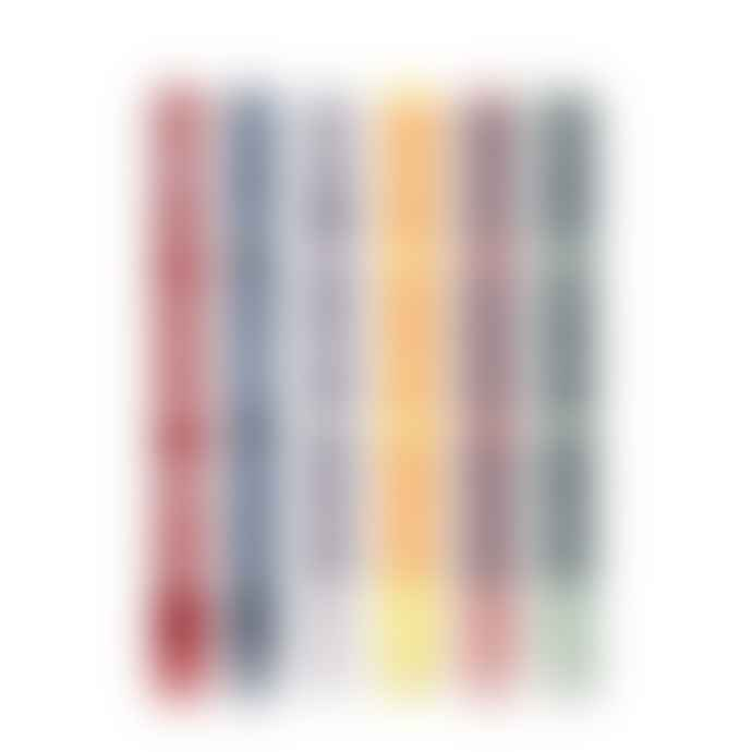 British Colour Standard Eco Dinner Candle Set Of 6 2 Striped Mixed