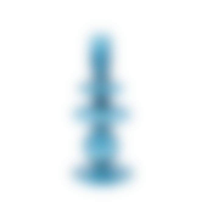 Present Time Candle Holder Art Glass Rings Medium Blue