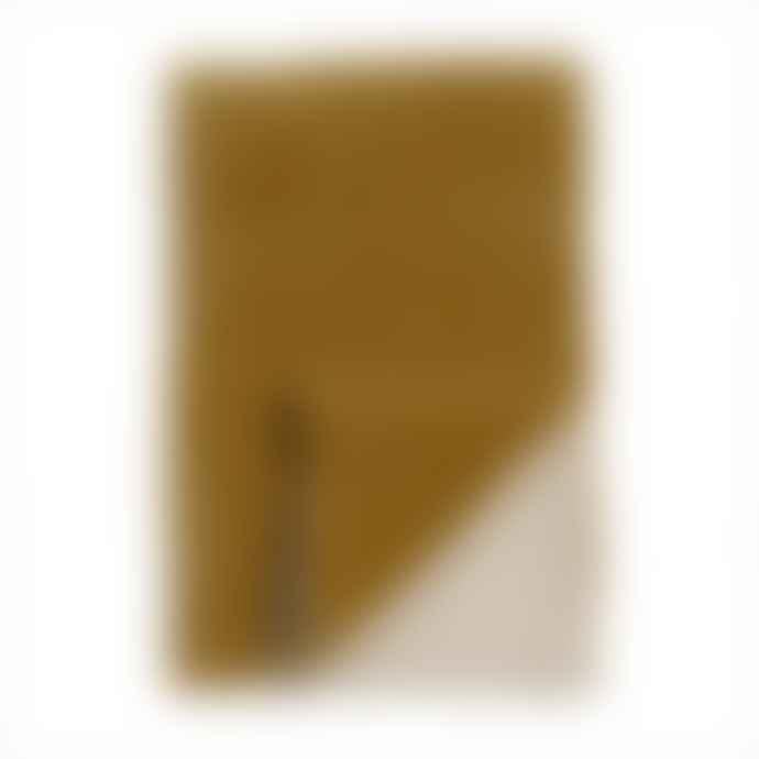 Niki Jones Velvet Throw Golden Lichen Natural Linen