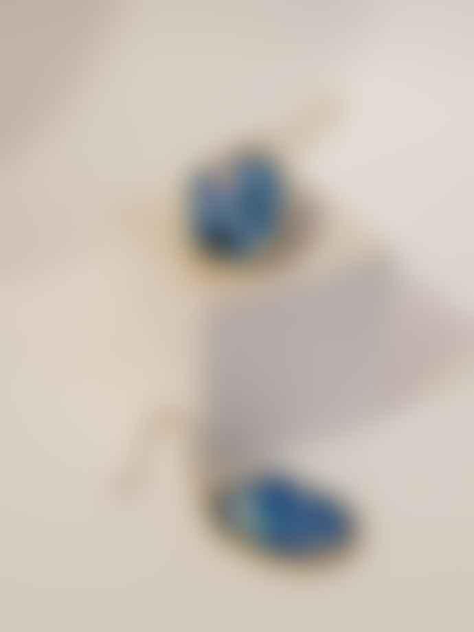 Scatter Jewellery Earrings Brass Jesmonite Irregular Oval Blue