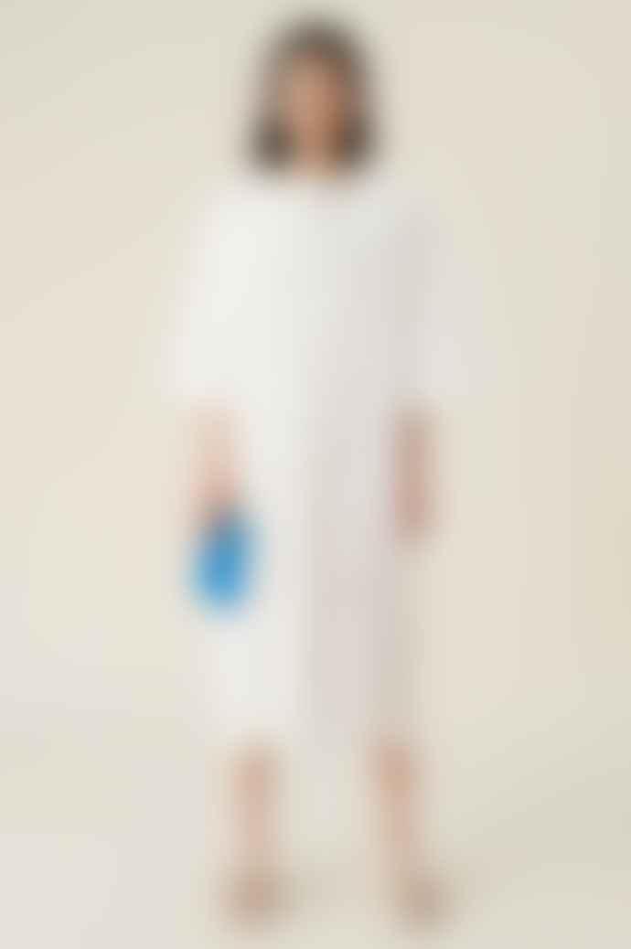 Ganni Oversized Broderie Dress Bright White