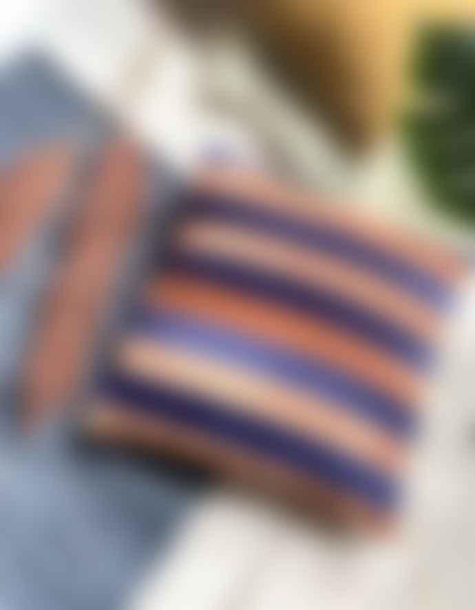 HKliving Striped Rust To Midnight Blue Velvet Cushion