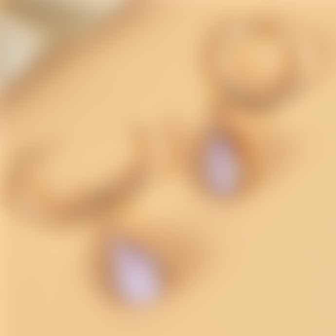 Loubijoux Huggie Hoop Earrings Mina Vintage Glass Lilac Teardrop Bead
