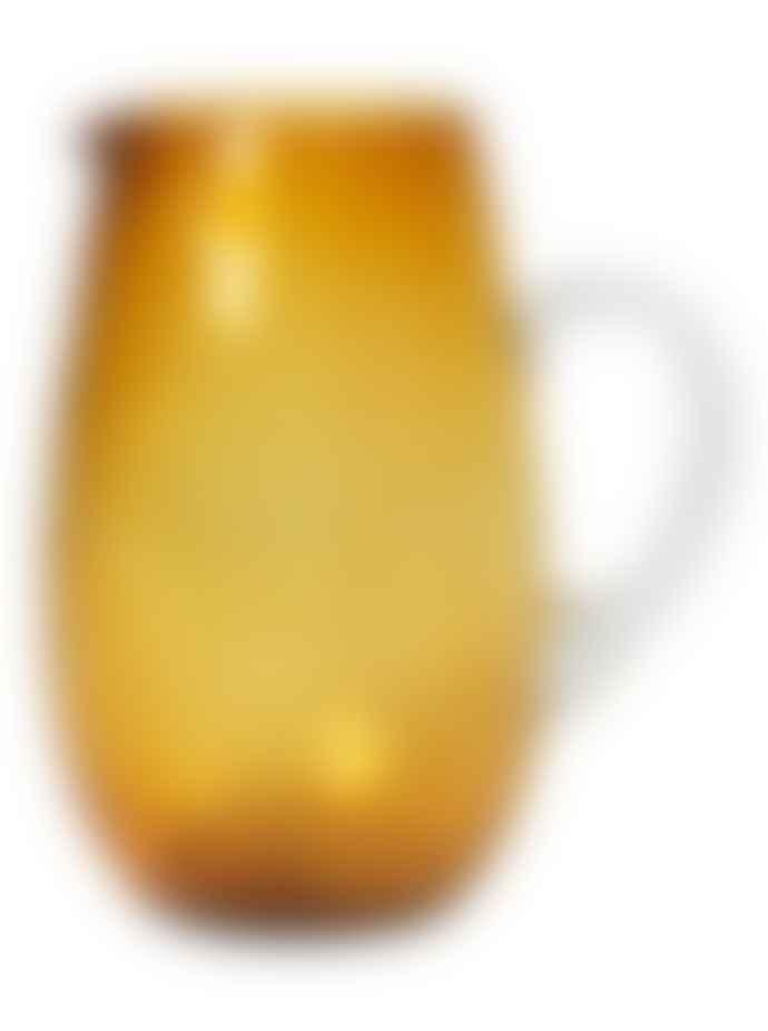Broste Copenhagen Hammered Glass Jug Amber