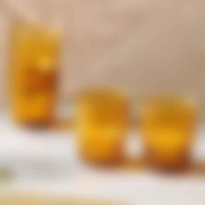 Nkuku Set of 4 Amber Glass Tumbler